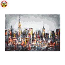 painting by numbers art paint number Digital self portrait painted color fill handmade gift decoration City Scenery