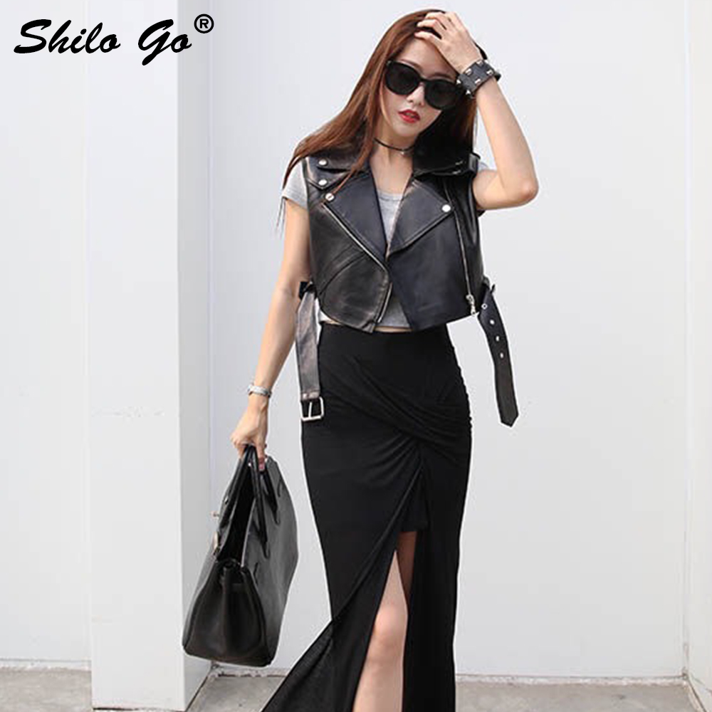 Streetwear   Leather   Vest Womens Autumn Fashion Faux   leather   Vest lapel collar sleeveless rivet belt causal Vest winter outwear