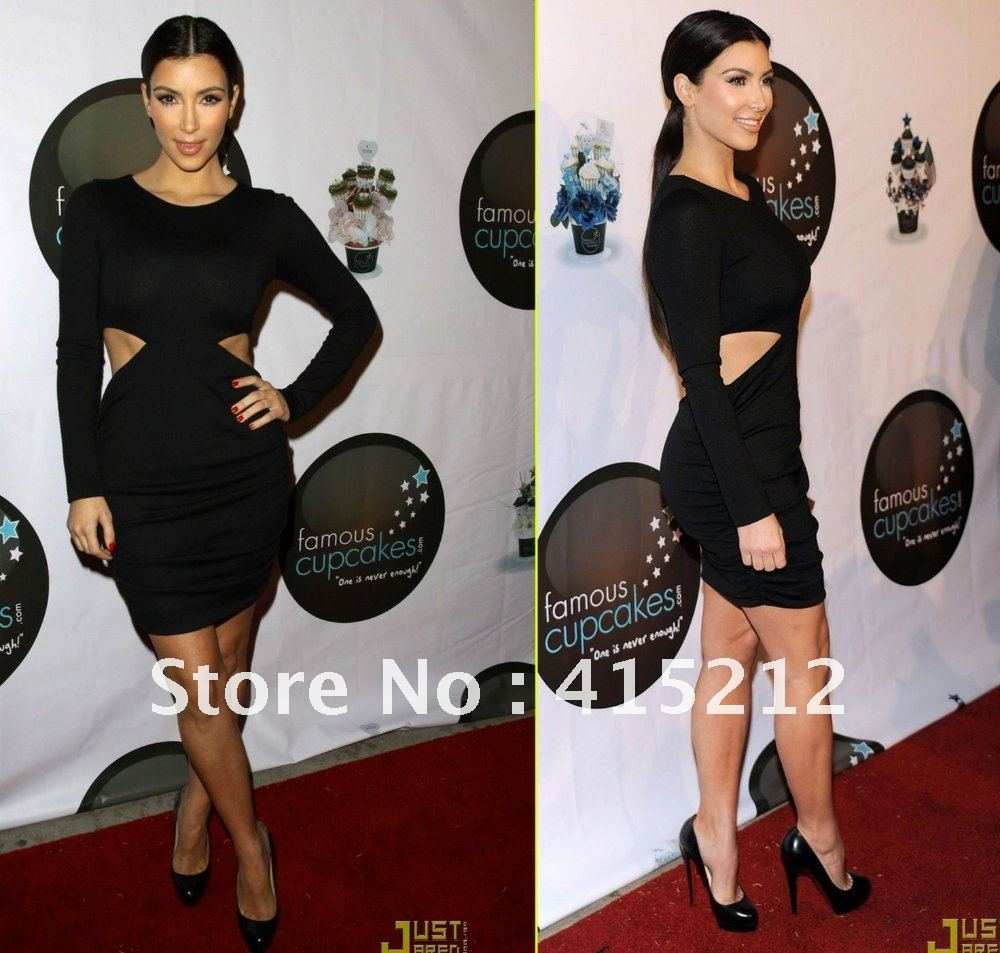 Wholesale Short Cocktail Dresses Free Shipping O Neck Long Sleeve ...