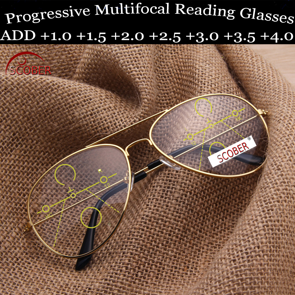 = SCOBER = Progressive Multifocal Reading Glasses Europe America Trend Retro Pilots Eyeframe See Near And Far TOP 0 ADD +1 To +4