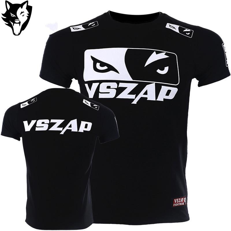 VSZAP Boxing Jersey Fight MMA T-Shirt Gym Shirts Boxing Fitness Sport Muay Thai Cotton Breathable T Shirt Men Kick Boxing