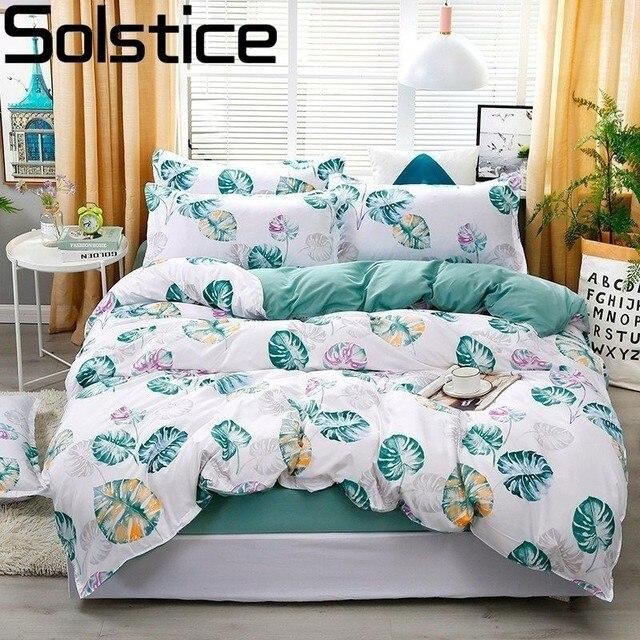 Solstice Cartoon Banana Leaf Style Comforter Bedding Sets Duvet Cover Bed Sheet Pillowcase Bed Linen Boy Girl Child Bedclothes