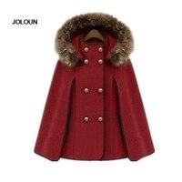 Women Dolman Hooded Cape Coat Jacket Runway Coat Windbreaker Cloak with fur collar shawl wool vintage trench parkas Poncho
