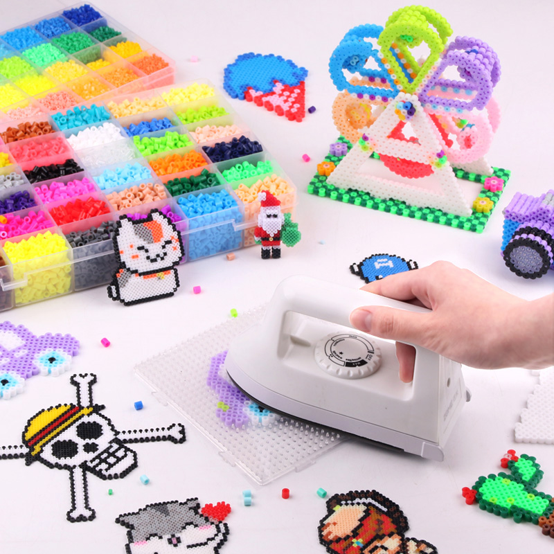 White Dry Iron for perler beads Hama Beads Puzzle Pegboard Perler Beads Iron with adjustable Temperature Ironing Faster