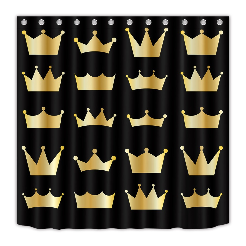 LB 72 Waterproof Polyester Black And Gold Star Print Shower Curtains Bathroom Curtain Fabric For Bathtub Home Decor 12 Hooks USD 913 2613 Piece