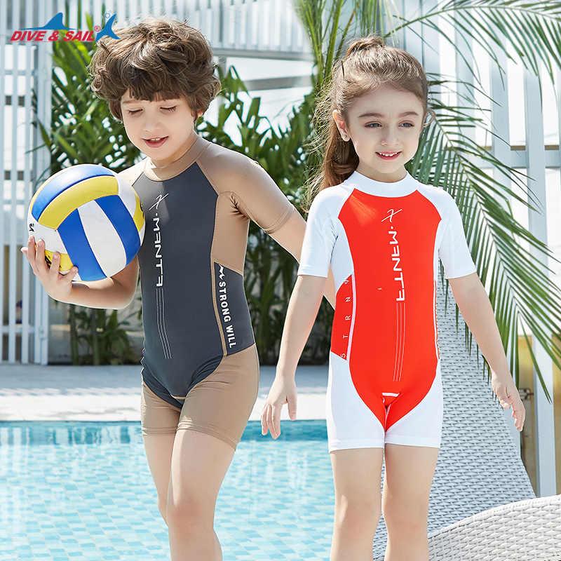 fe70d63547 Boys Swimsuit One-Piece Bathing Suit Shorty Dive Skin Sun UV Protection  UPF50+ Back Zipper