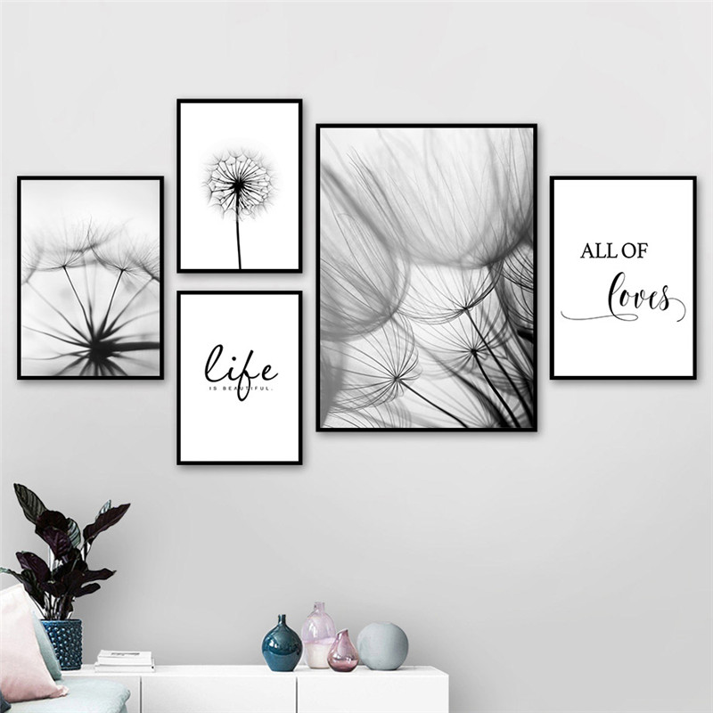 HTB1X8LjbdfvK1RjSspfq6zzXFXaD Nordic Dandelion Art Canvas Painting Posters And Prints Black White Loves Life Quotes Wall Pictures For Living Room Decor AL133