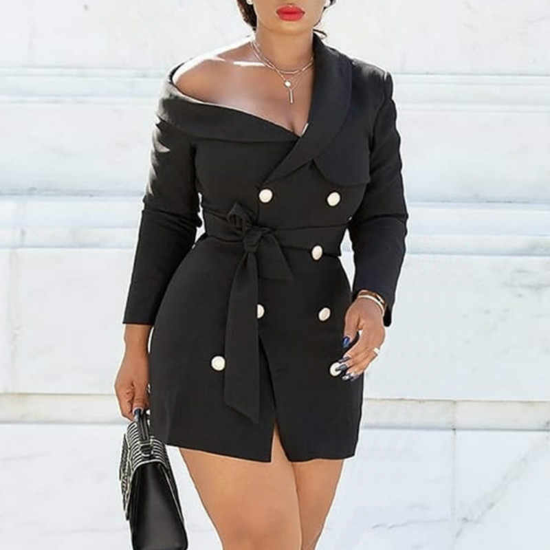 Women Blazer Mini Dress Black Sexy Office Ladies Fashion New Off Shoulder Double Breasted with Sashes Slim Bodycon Short Dresses