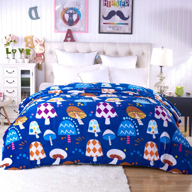 2017 New super soft air-condition coral fleece flannel fabric blanket baby sofa throw plaid cartoon winter qulit plush bedsheet