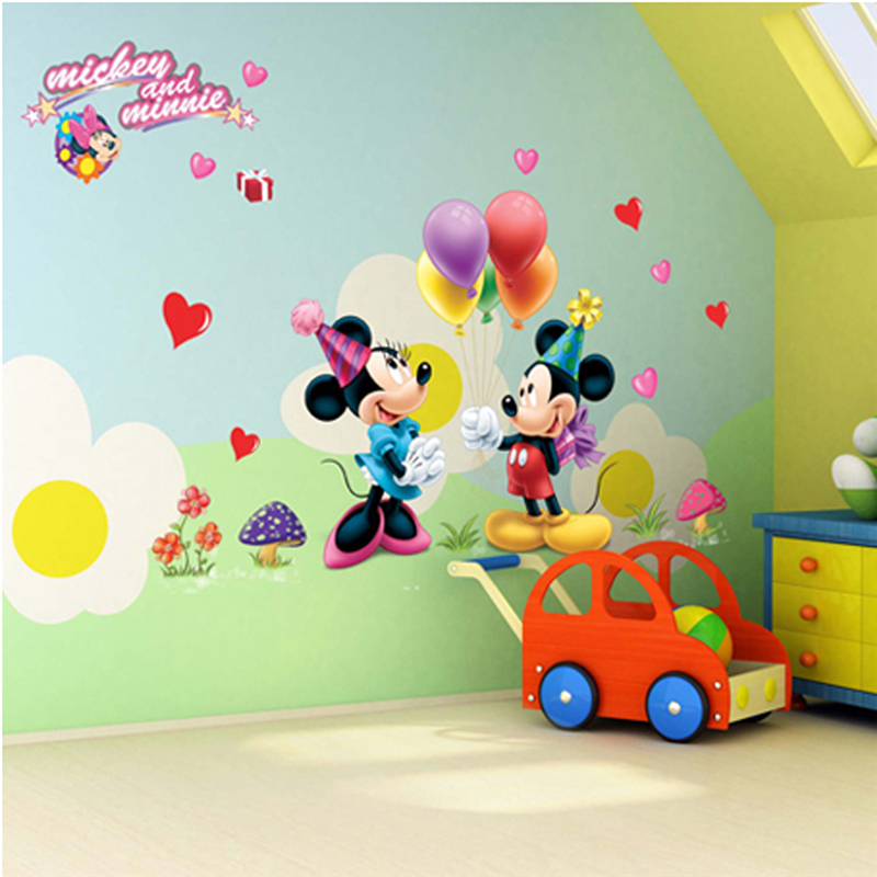 Cartoon Mickey Minnie Mouse Wall Decals Kids Rooms Bedroom Home Decor Accessories Pvc Wall Stickers Diy Posters Wallpaper Wall Stickers Aliexpress