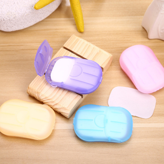 Random 20pcs Disposable Boxed Soap Paper Travel Portable Outdoor Hand Washing Cleaning Scented Slice Sheets Mini Paper Soap
