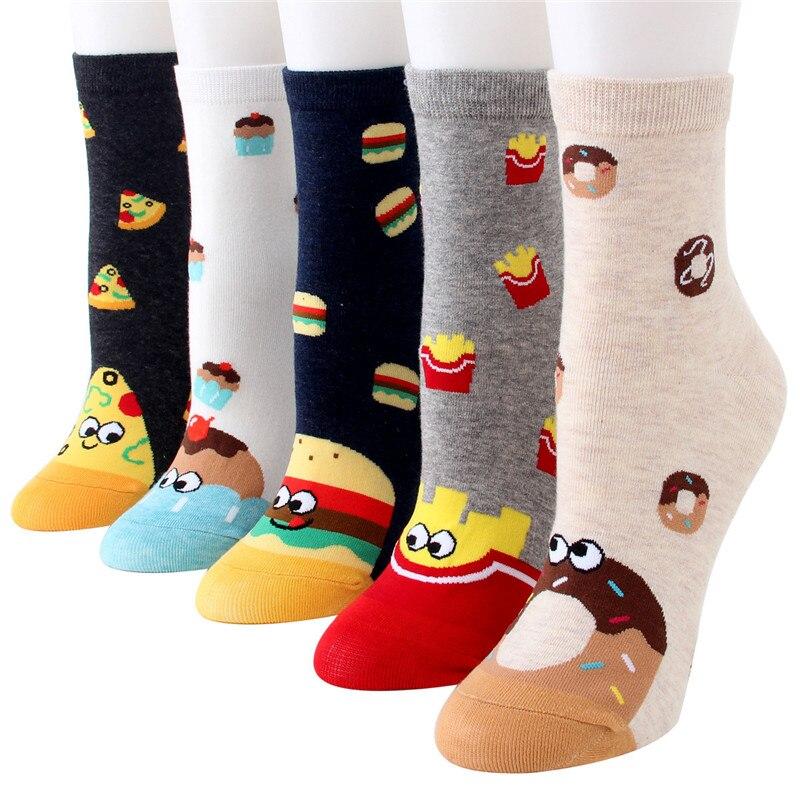 New Women Cute Food Cotton Mid Tube Socks Female Kawaii Cartoon Bread Donut Socks Korean Japanese Funny Socks Hosiery