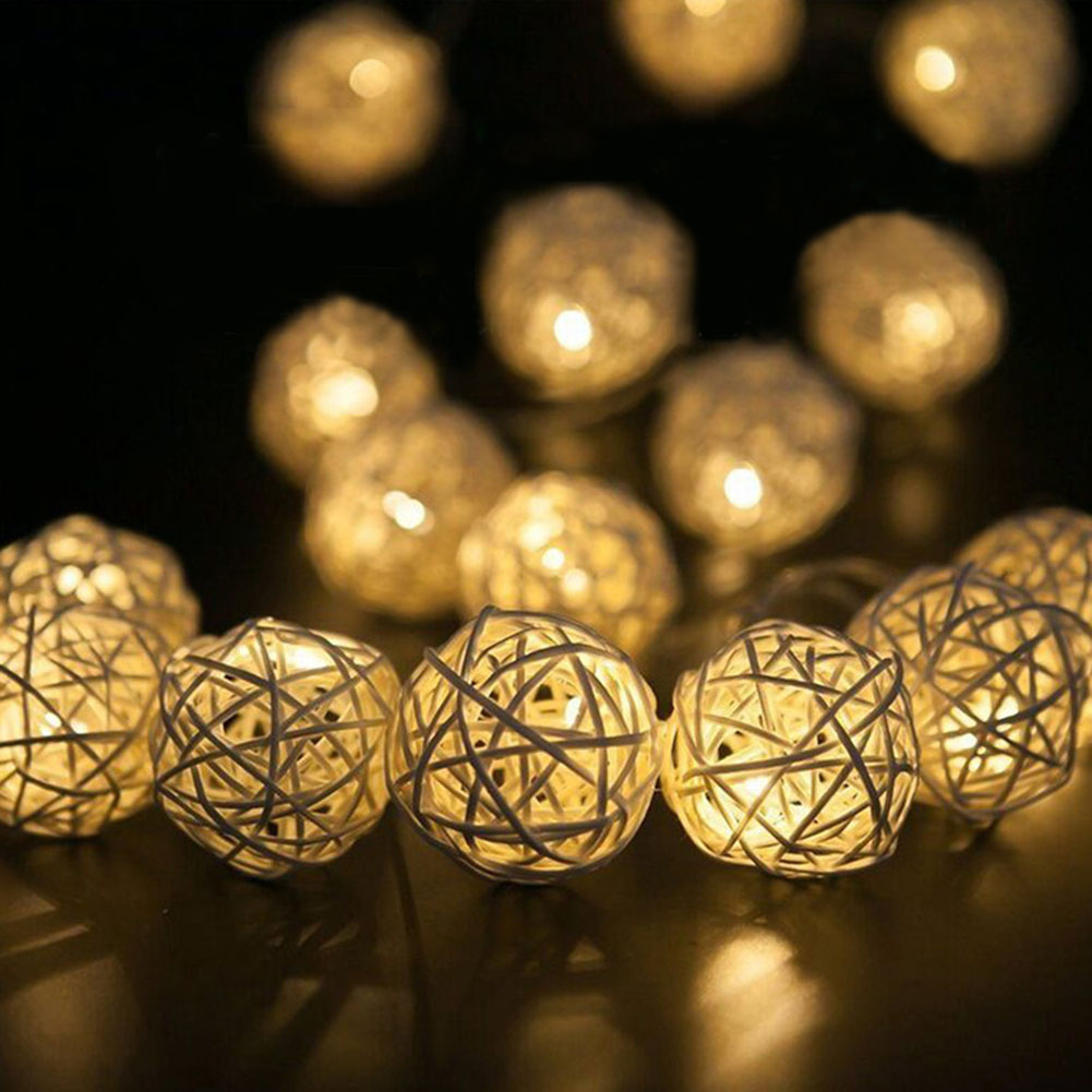 1m/2m/3m Rattan Ball Led String Light Christmas Aa Garden Holiday Garland Wedding Decoration Fairy Lights Party
