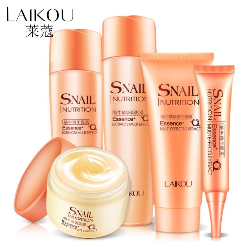 LAIKOU Snail Repair Skin Care Set Pack Of  5 Foam Cleanser Moisturizing Cream Facial Cleanser+Toner+Lotion+Eye Cream Anti Aging