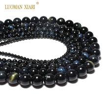 b8cb73ed9b3d Redonda al por mayor AAA + Natural Ojo de Tigre azul piedra perlas para  joyería hacer
