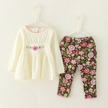 Cute White Kids Toddler Girls Clothing Set Baby Print Flowers Pant & Shirt  Casual 2-Piece Suit for Children Girl Wear