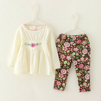 Hot Cute Kis Toddler Girls Clothing Set Baby Print Flowers Pant White Shirt Casual 2 Piece