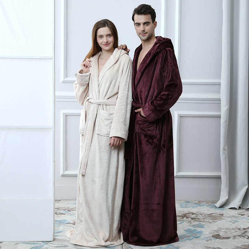 688b65ba9619d48 Термальность любителей с капюшоном удлиненная фланель ванны халат Для женщин  толстый Для мужчин зима теплый Халат