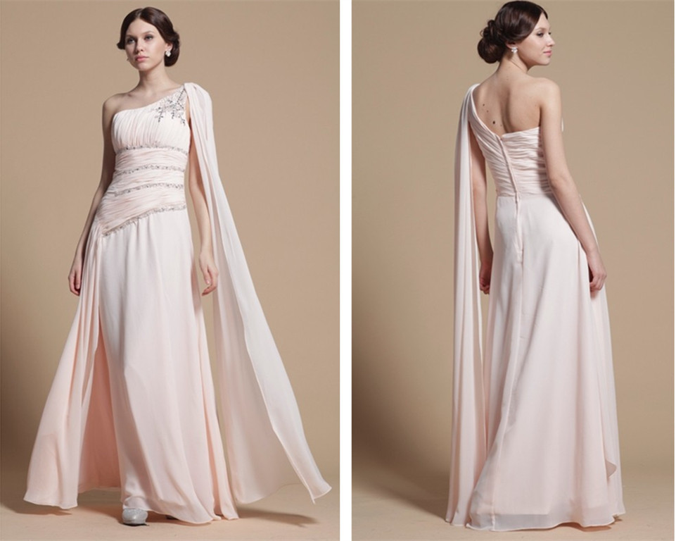 free shipping party prom gown 2018 robe de soiree vestido de festa one shoulder pink beading long elegant   bridesmaid     dresses