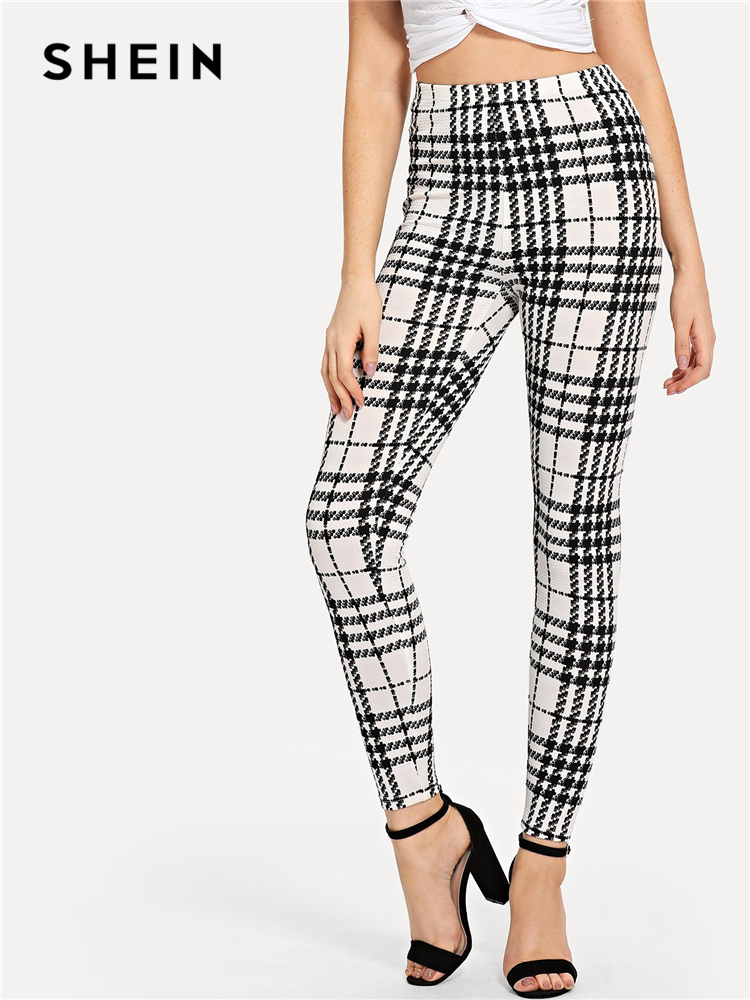 SHEIN Black And White Office Lady Highstreet Plaid Skinny High Waist Casual Leggings Summer Women Elegant Leggings Trousers 2