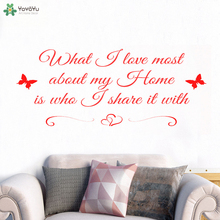 цена на YOYOYU Wall Decal Creative High Quality Home Quote Wall Stickers Art Adhesive Removable Butterfly Love Girls Bedroom Decor CT704