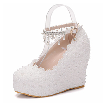 Women Wedding Shoes White Lace Flowers Crystal Bridal Party Pearl Pumps Round Toe Super High Heel Sweet Rinestone Shoes XY-B0067
