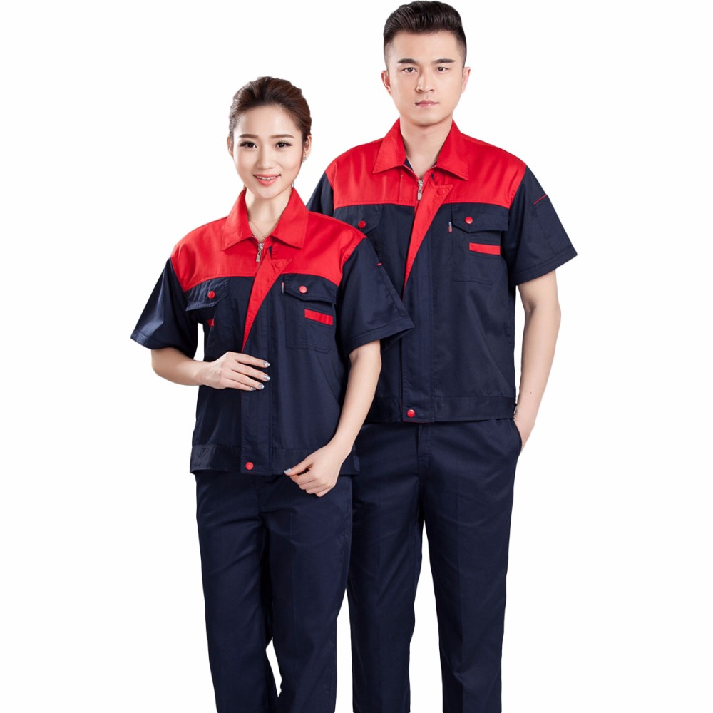 Men Women Work Clothing Sets Workwear Suits Summer Short Sleeve Jackets+Pants 2017 New Factory Car Repair Workers Uniforms 4 colors 2016 summer unisex popular breathable work clothing short sleeve workwear absorbent comfortable clothes for factory