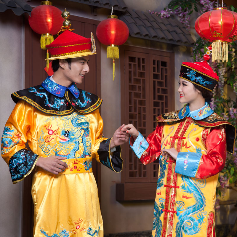 Купить с кэшбэком Luxury Lovers' Costume Men Women clothing robes king costume stage queen princess wedding photography cosplay clothing