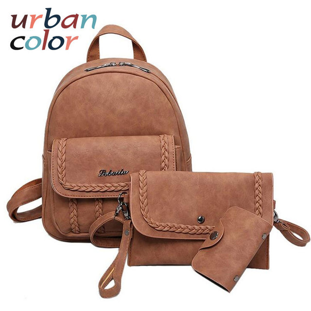 cf797d5490 Preppy Style Women Composite Bags Solid Braid Girls Backpack Vintage  Crossbody Bag Fashion Day Clutch Purse