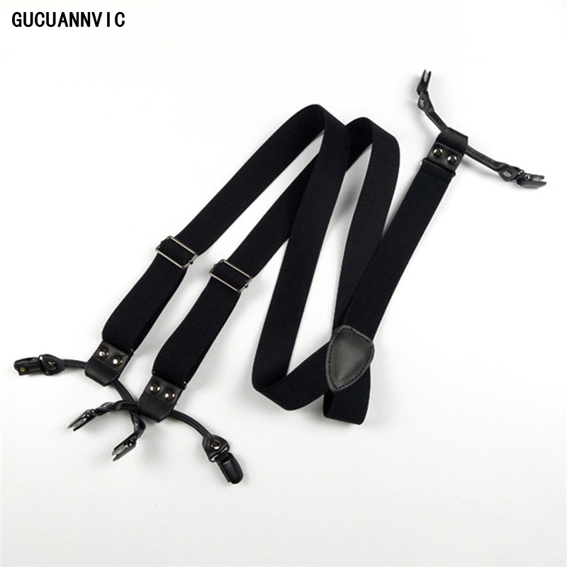 Retro Fashion Wide Pure Black Suspenders Men High-quality 6 Clip Seamless Adjustment Buckle Mens Braces Unisex Models Suspender