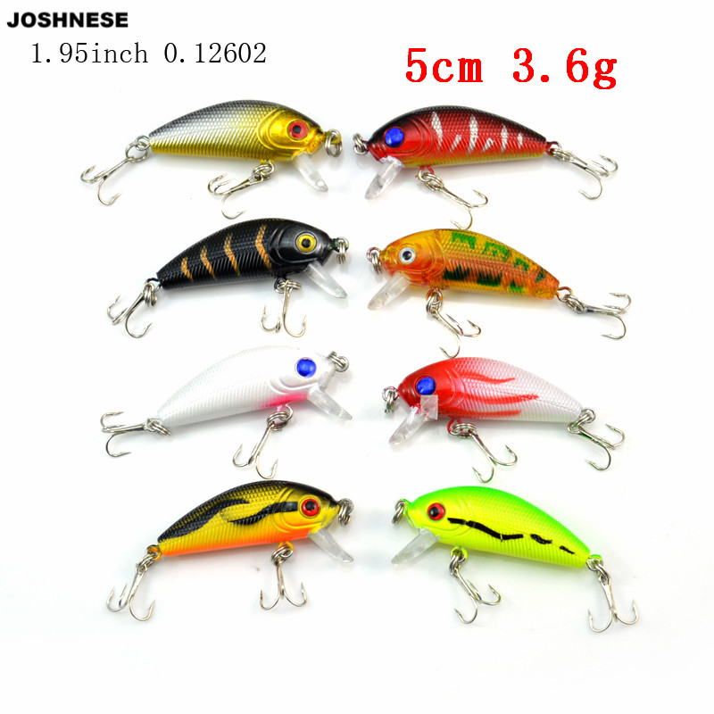 JOSHNESE 8pcs 3.6g 5cm Carp Hard Artificial Bait Fishing Lures Wobbler Fish Minnow Bass Lure Crankbait Trout Tackle Hook 4pcs fishing wobblers lure wobbler lures for peche artificial bait trolling seabass minnow yo zuri hard baits black fish 8 5cm