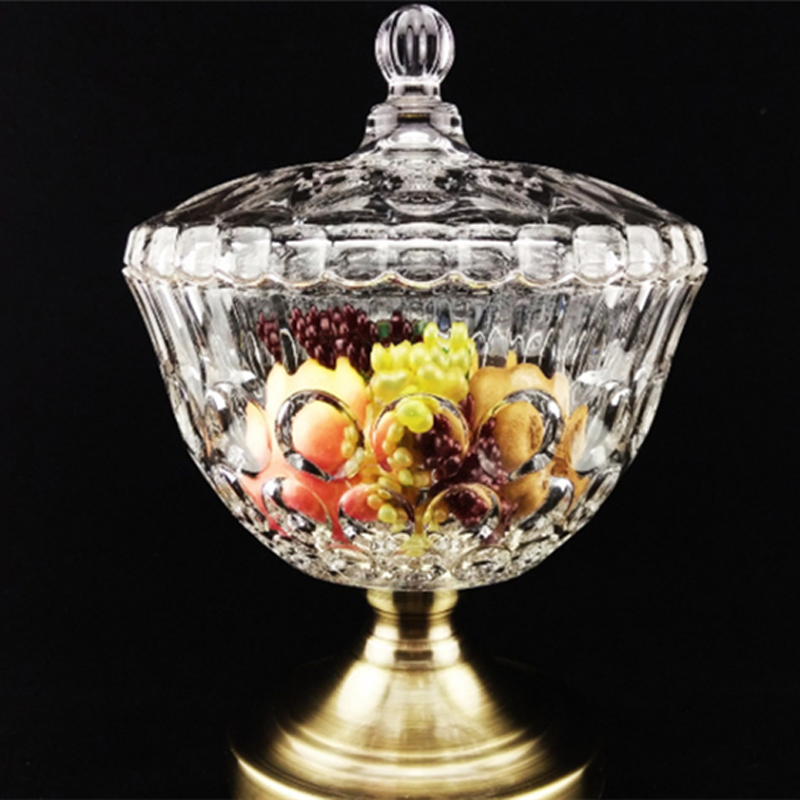 European Style Glass Sugar Bowl With Lid Tall Transparent