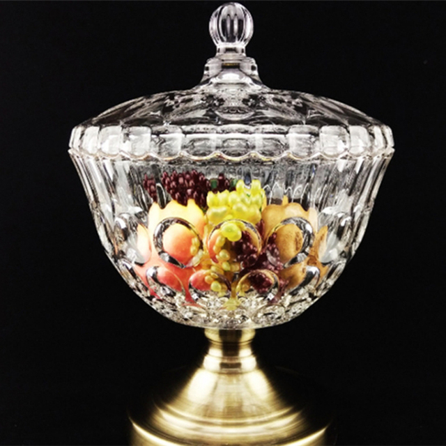 Super European style glass sugar bowl with lid Tall transparent crystal  QP79