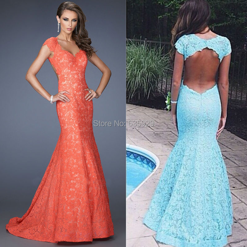 Coral Lace Mermaid Dress - Missy Dress