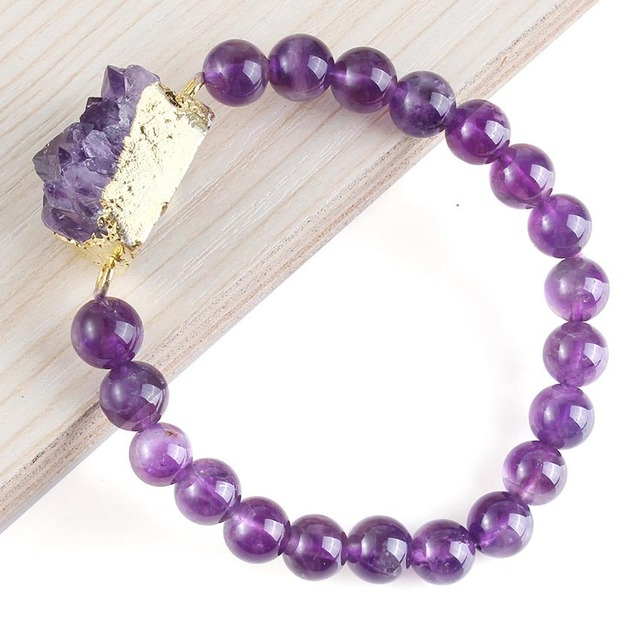 UMY Wholesale New Stylish Trendy Natural Druzy Amethyst Random Shape With Amethyst Round Bead Bracelet Statement Accessories