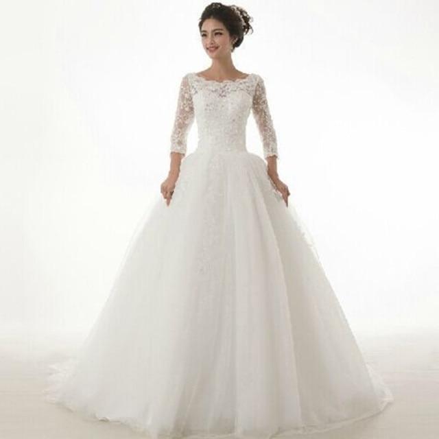 Nowa Suknia Balowa Księżniczka Suknie ślubne 34 Rękaw Koronki Tiul
