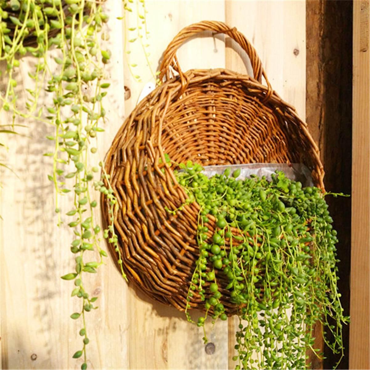mimbre cestas de flores decoracin de la pared colgante maceta de jardn plantas decoracin de