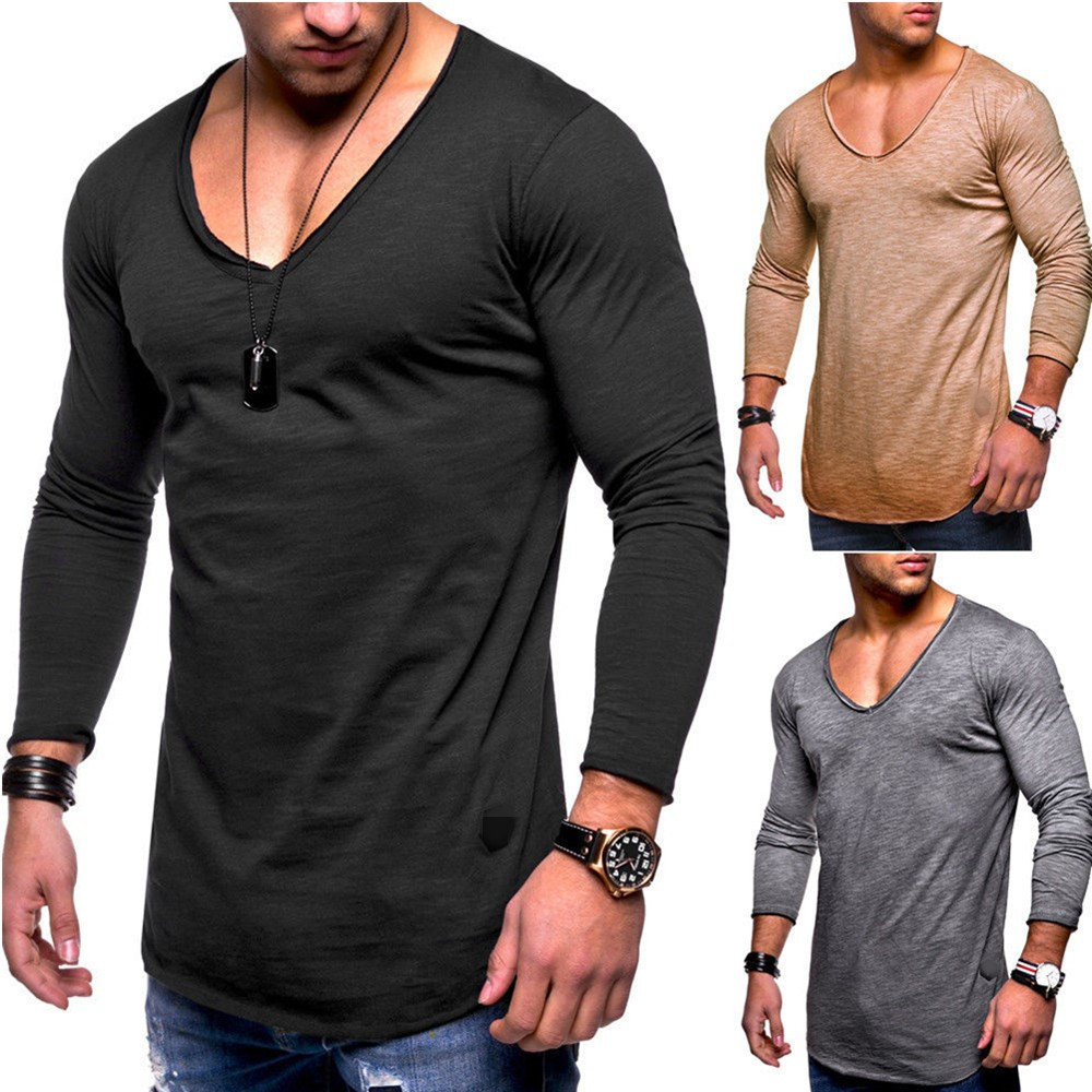 European and American fashion new men's long-sleeved   T  -  shirt   large size Slim autumn V-neck casual solid color top   t     shirt   men