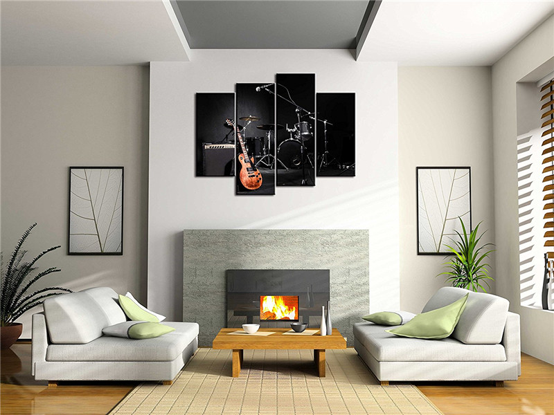 4 Panel Rock Music Jazz Drum Kit Electric Guitar Modern Home Wall Decor Canvas Picture Art