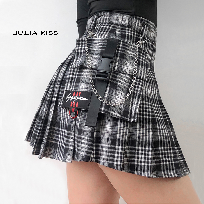 Women Co-ord Check Wrap Mini Skirt With Horn Buckle Preppy Stylr Mini Skort