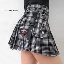 JULIA KISS Women Co-ord Check Wrap Skirt with Horn Buckle Preppy Stylr Mini Skort