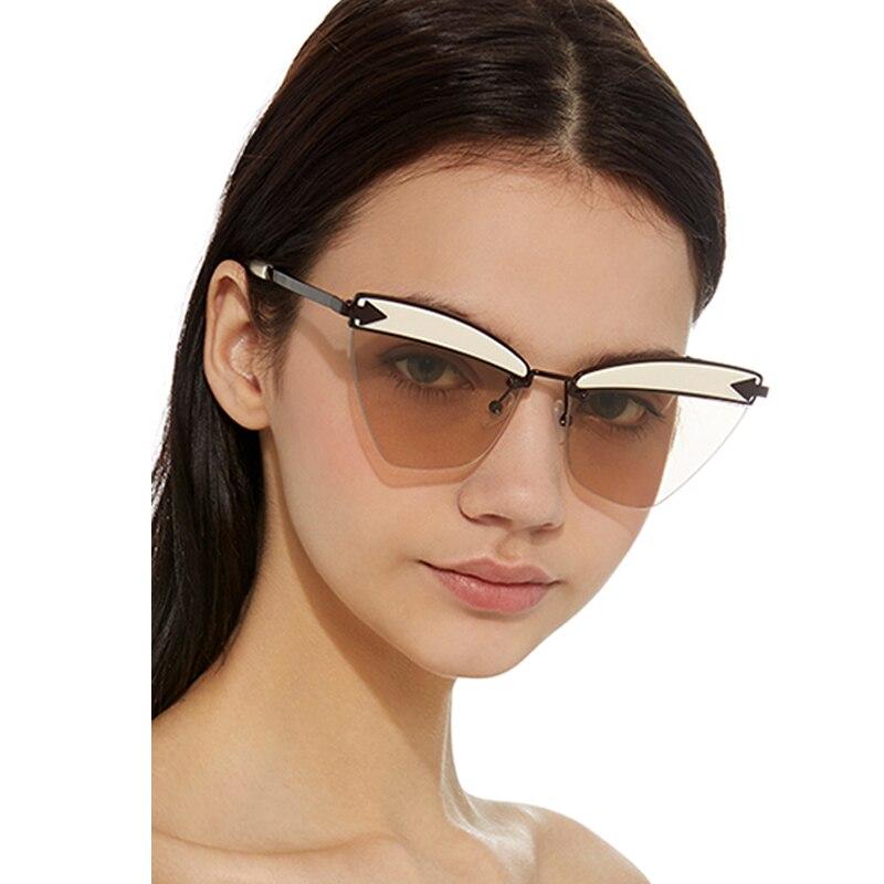 FEISHINI marca Metal sin montura marco gato ojo gafas de sol damas ...