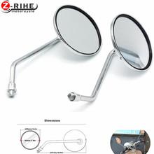for Universal Round Silver Motorcycle Rear Mirror Motorbike Side Rearview 8mm 10mm Left and Right view mirrors