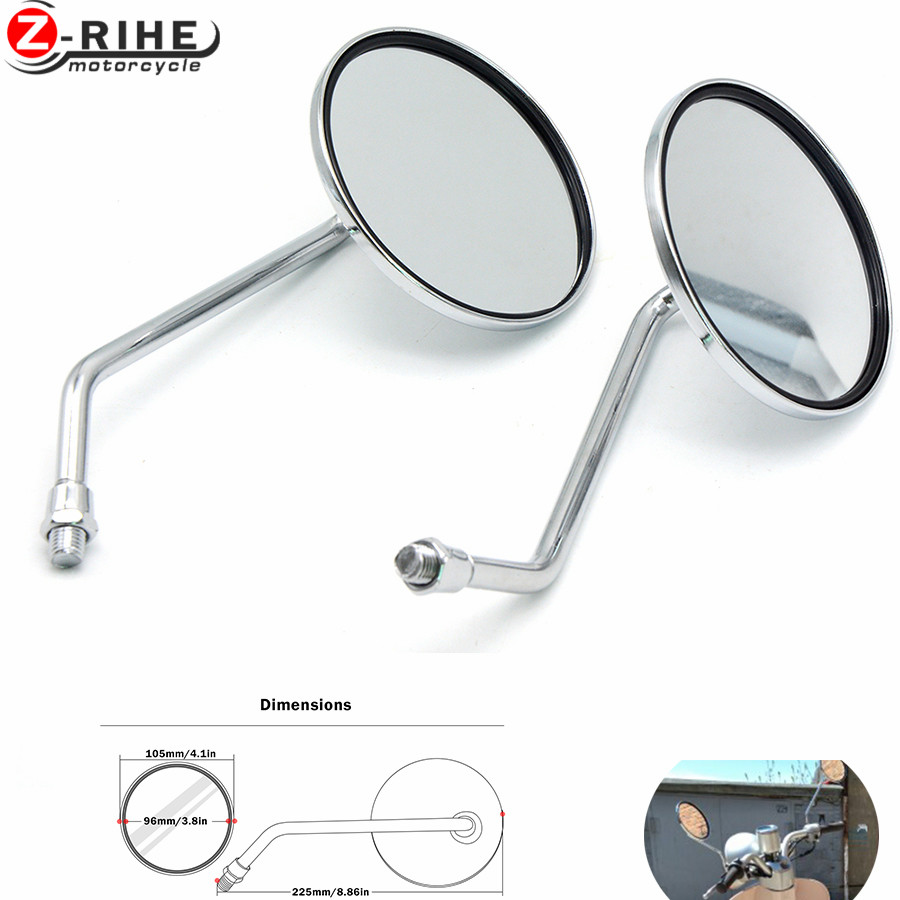 for Universal Round Silver Motorcycle Rear Mirror Motorbike Side Rearview Mirror 8mm 10mm Left and Right Rear Side view mirrors