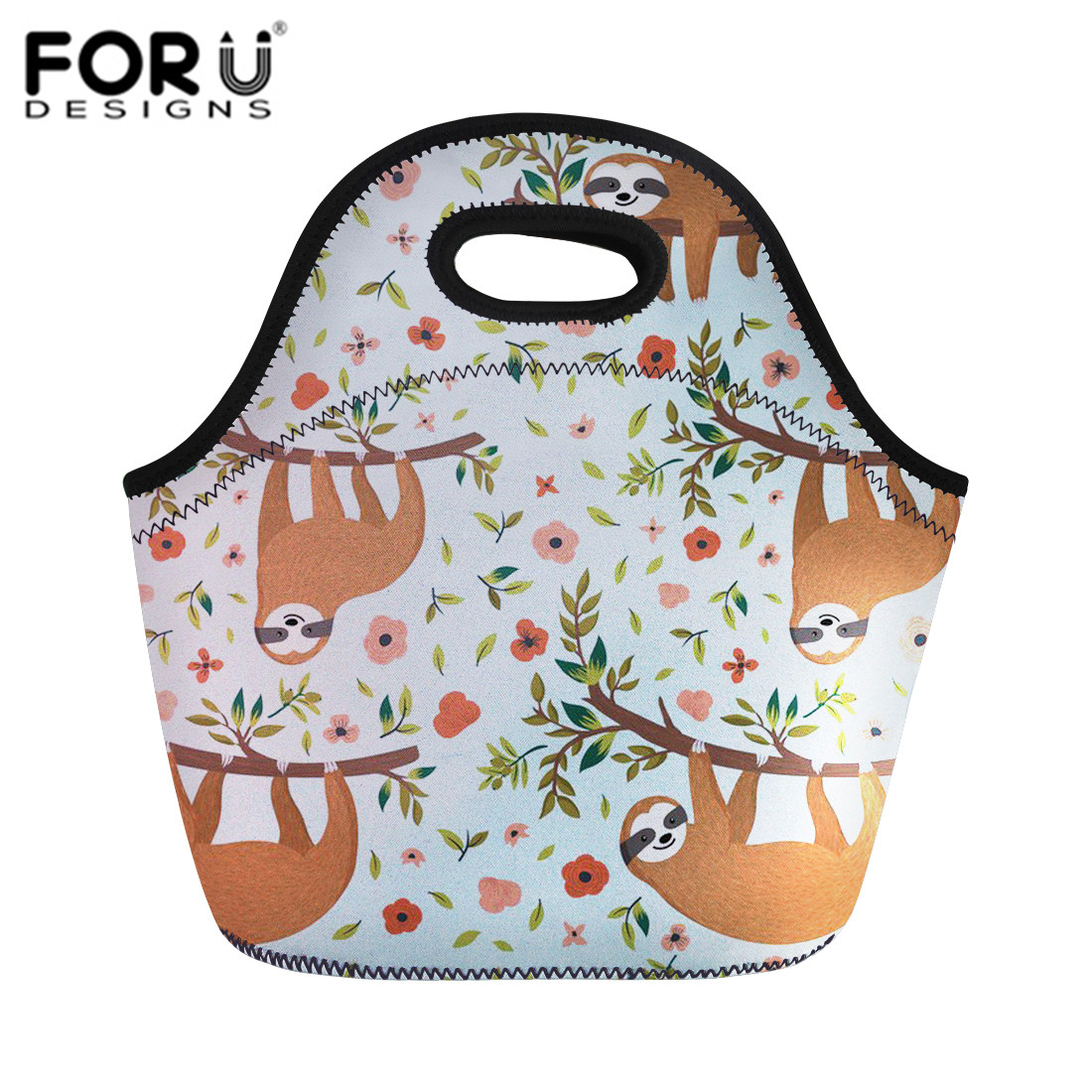 FORUDESIGNS Cute Sloth Printing Lunch Bags For Kid Thermal Insulated Lunch Box Food Picnic Bags Casual Tote Handbag Dropshipping