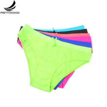 Prettywowgo 6 pcs/lot Womens Briefs Solid Color High Quality Comfortable Cotton Women Panties 6953