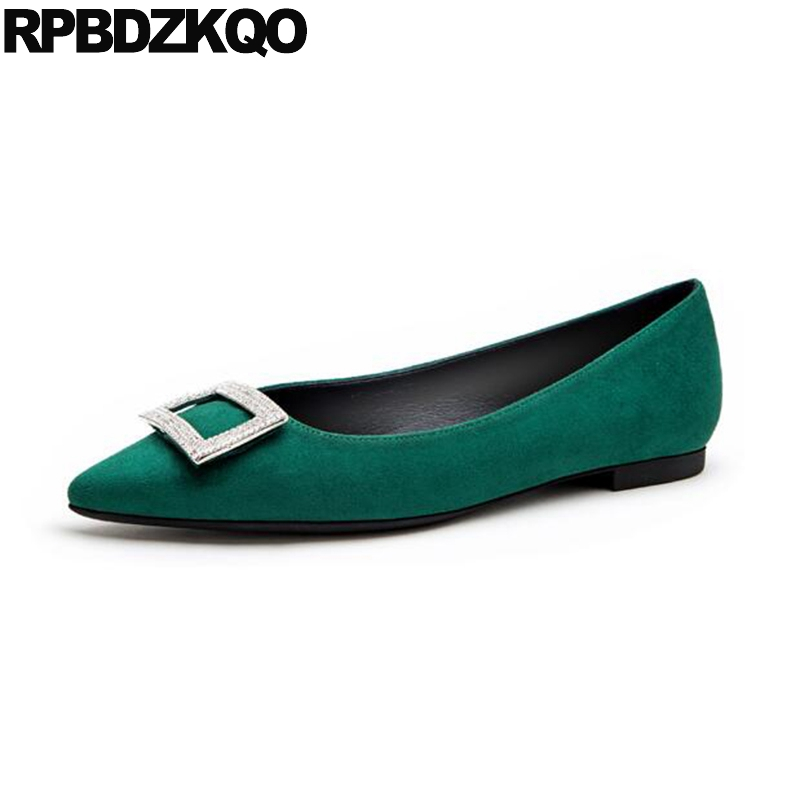 Green Bling Pointed Toe Rhinestone Fashion Spring Autumn Slip On China Ladies Beautiful Flats Shoes Suede Chinese Latest bow elastic round toe women slip on latest suede flats big designer shoes china chinese fashion beautiful european drop shipping