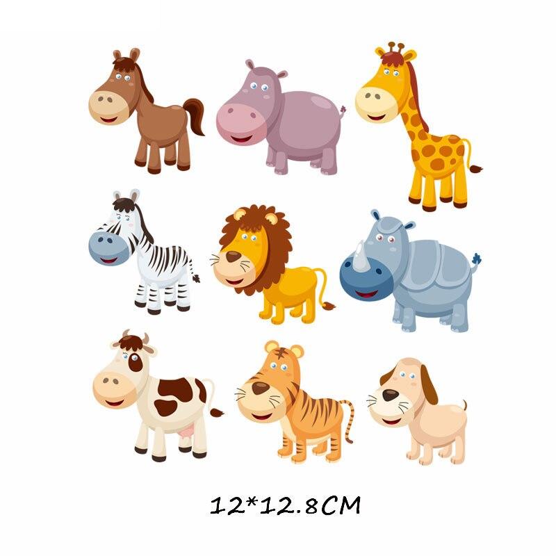 Набор патчей с изображением животных из мультфильмов, милые патчи с изображением единорога, кошки, совы, собаки, цветов для детей, одежда для девочек, футболка, сделай сам, термопресс - Цвет: 718