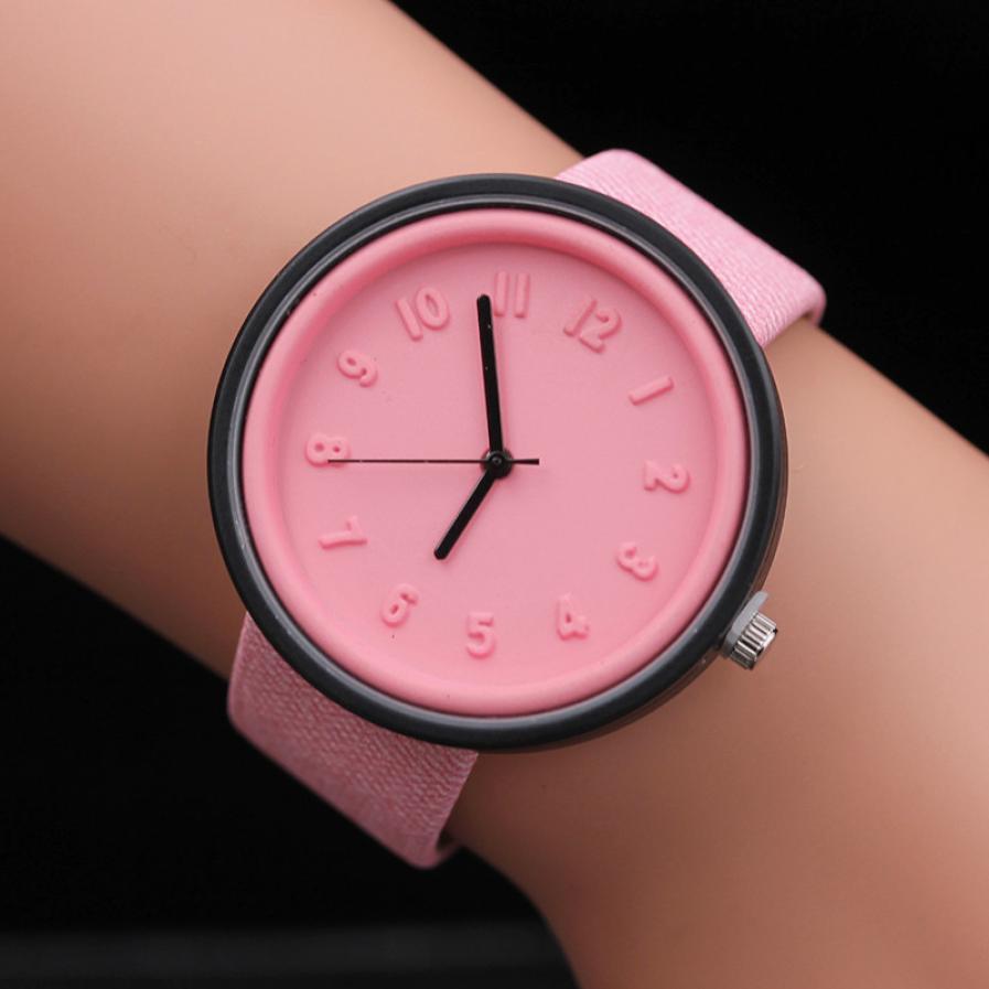 Relojes Mujer унисекс Женские часы Женские простые моды номер часы кварцевые холст ремень наручные часы Relogio feminino