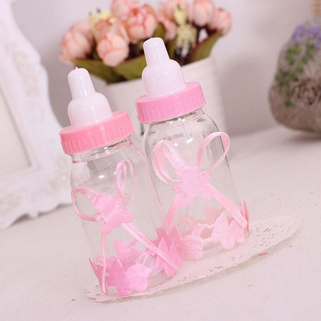 2017 New Milk Bottle Candy Box Baby Bottle Favors Gifts Box Baby Shower  Baptism Decoration Party